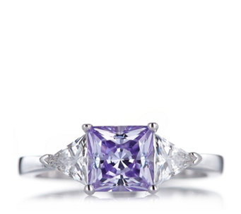 Diamonique 3ct tw Trilogy Ring Sterling Silver - 645797