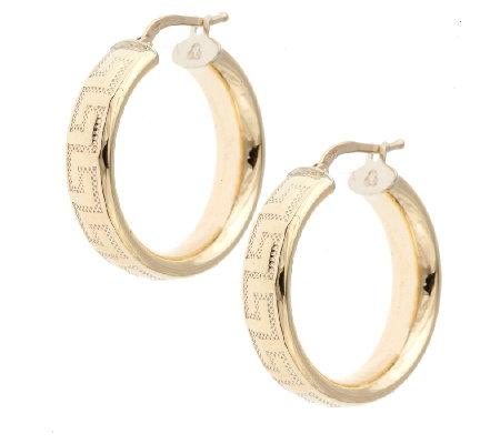 9ct Gold Classic Hoop Greek Key Design Earrings QVC UK