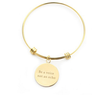 K by Kelly Hoppen Message Disc Bracelet 18ct Gold Plated Bronze - 691097