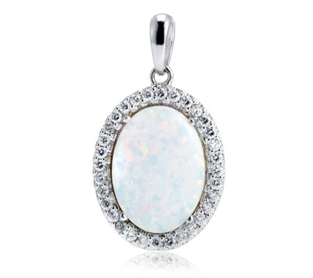Diamonique 03ct tw oval simulated opal pendant chain sterling diamonique 03ct tw oval simulated opal pendant chain sterling silver aloadofball Images