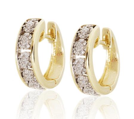 0 20ct Diamond Multiplicity Huggie Hoop Earrings 9ct Gold QVC UK