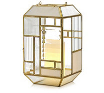 Home Reflections Glass Panel Indoor Lantern with LED Candle - 706615