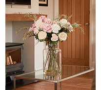 Peony Roses & Greenery in a Large Contemporary Vase - 707415