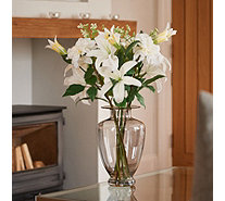 Peony Casablanca Lilies Dahlias & Stephanosis in a Smoked Tall Vase - 707420