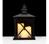 Home Reflections Square Lantern with 3 LED Pillar Candles