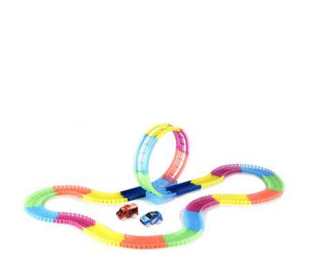 Twister Tracks 11ft Neon Glow Flexible Track with Loop & 2 Vehicles