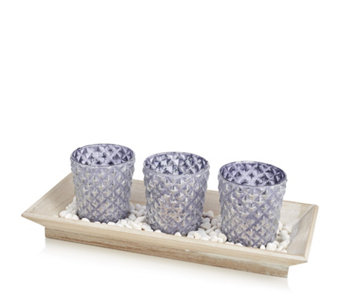 Home Reflections Set of 3 Glass Flocking Candle Holder with Plate - 706124