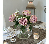 Peony Cabbage Roses & Gypsophila in a Lipped Fishbowl - 707126