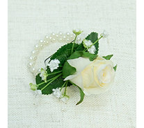 Peony Rose & Gypsophila Bracelet Corsage w/ Mini Rose Button Hole - 707127