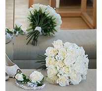 Peony Roses & Gypsophila Bouquet with Button Hole in a Box - 707128