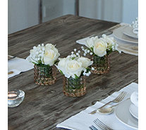 Peony Roses & Gypsophila in a Textured Champagne Cylinder Vase - 707129