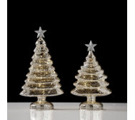 Home Reflections Set of 2 LED Champagne Mercury Glass Tree Ornaments