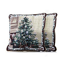 Santa Express Set of 2 LED Christmas Tree Tapestry Cushions - 704631