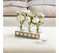 Peony Set of 3 Ranunculus & Waxflower in Whitewash Tray - 707431