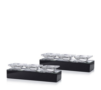 JM by Julien Macdonald Signature Set of 2 Mirrored Candle Holders - 707232