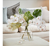 Peony Tropical Orchid Arrangement in Contemporary Bottle Vase - 707435