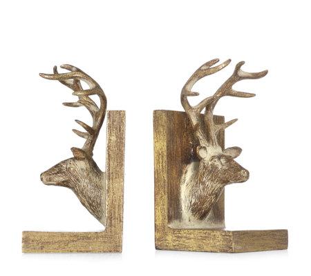 Alison cork set of 2 deer bookends page 1 - Deer antler bookends ...