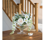 Peony Hydrangeas Wisteria & Roses in a Large Footed Vase