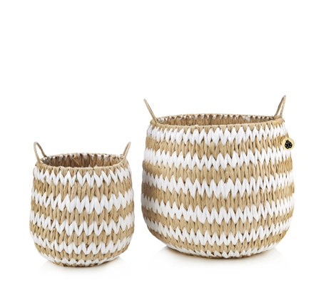 BundleBerry by Amanda Holden Set of 2 Hand-Woven Storage Baskets