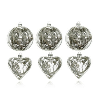 Alison Cork Set of 6 Snow Encapsulated Woodland Glass Baubles - 707255