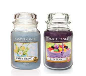 Yankee Candle Set of 2 Jelly Beans & Happy Spring Large Jars - 706563