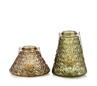 Home Reflections Set of 2 Textured Glass Lanterns - 706674