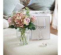 Peony Hydrangea Roses in an Optic Glass Vase - 707578