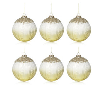 Alison Cork Set of 6 Beaded Deluxe Golden Glass Vintage Baubles - 707280