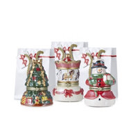 Mr Christmas Set of 3 Porcelain Music Boxes with Gift Bags