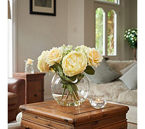 Peony Roses & Cow Parsley in a Fishbowl - 707585