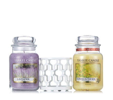 Yankee Candle Set of 2 Large Jars with Mediterranean Jar Holder