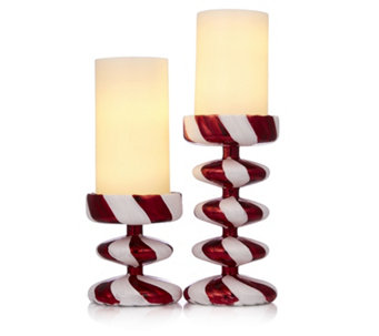 Santa Express Set of 2 Candy Cane Candle Holders with LED Candles - 707292