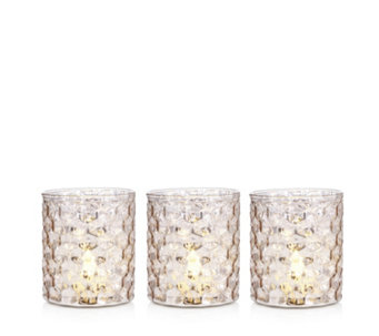Home Reflections Set of 3 Rose Gold Mercury Glass Holders with LED - 707295
