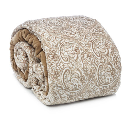 Cozee Home Perfect Paisley Faux Mink Fleece Duvet Set with Deep Fitted Sheet