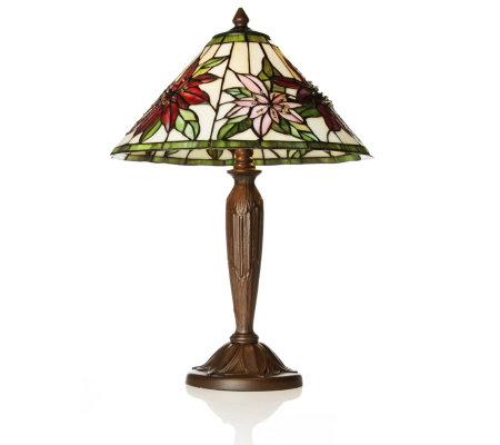Superb Tiffany Style Hand Crafted Poinsettia Table Lamp