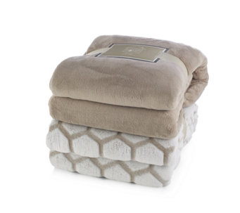 Cozee Home Set of 2 Luxury Soft Plain & Patterned Throws 150cm x 200cm - 805606