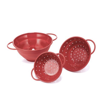 Cook's Essentials Set of 3 Collapsible Colanders & Bowls - 805210