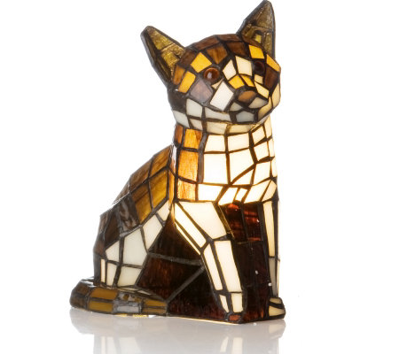Tiffany Style Handcrafted White Ginger Tabby Cat Novelty Lamp QVC UK
