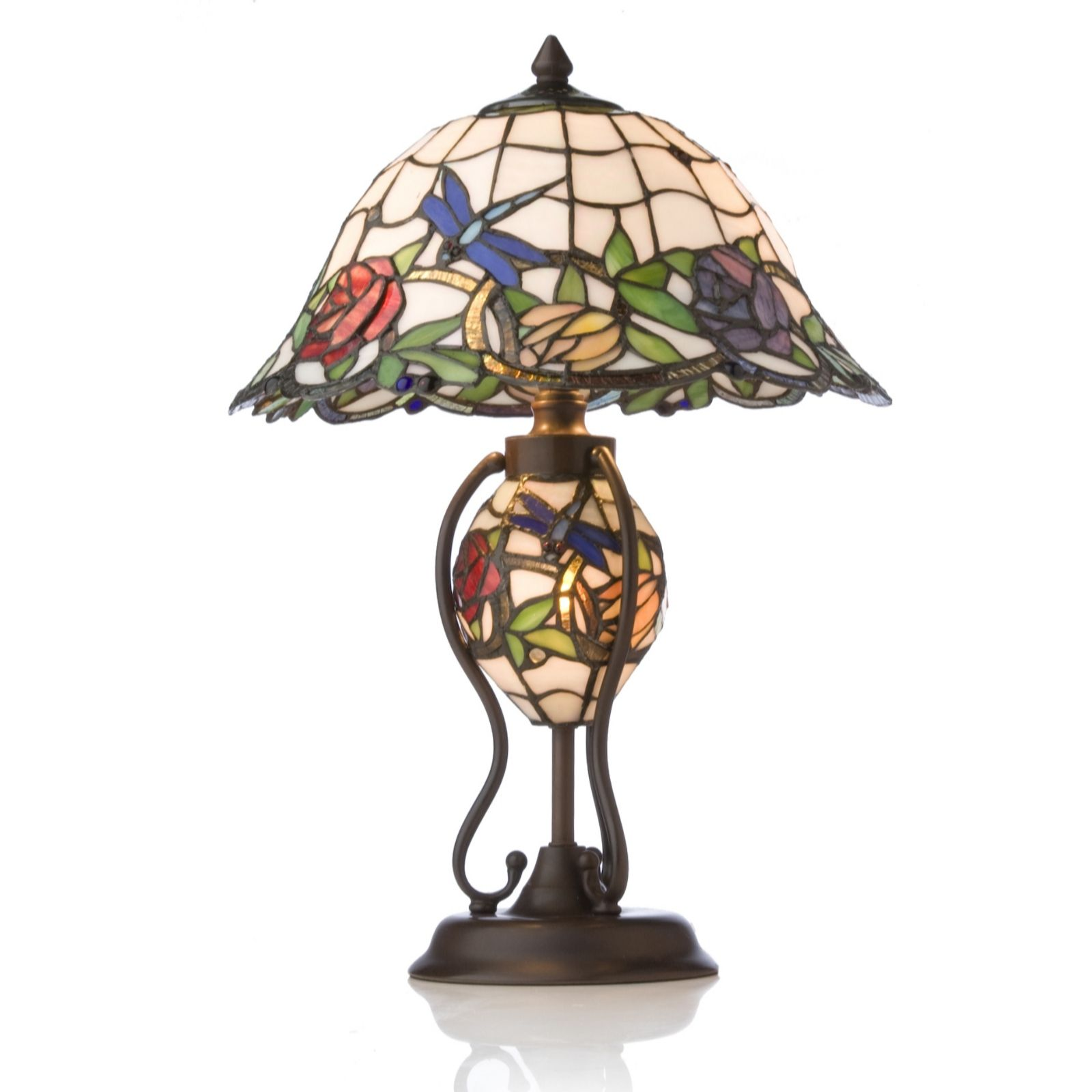 Tiffany Style Handcrafted 3D Rose Garden Lit Base Table Lamp QVC UK