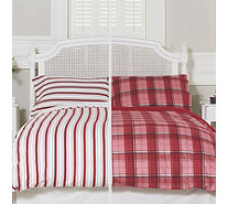 Northern Nights Set of 2 Tartan & Stripe Reversible Flannel 4 Piece Duvet Sets - 805121