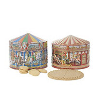 Churchill's Confectionery Set of 2 Carousel Tins with Biscuits - 807726