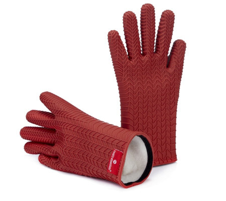 Cook 39 s essentials pair of flexible silicone oven gloves qvc uk - Kitchenaid oven gloves ...