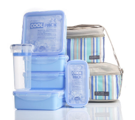 Lock & Lock 6 Piece Airtight Storage Set with Cold Packs & 2 x
