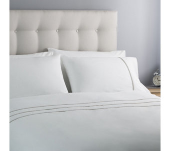 Silentnight White Pintuck Cotton Rich Duvet Set with Colour Trim - 806839