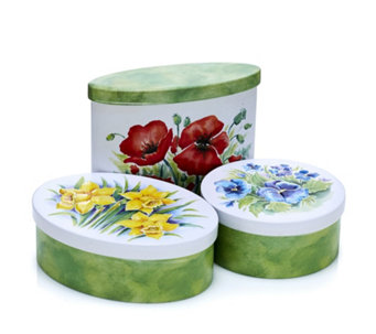 Churchill's Confectionary 3 Piece Country Garden Tins with Biscuits - 806144