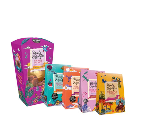 Monty Bojangles Curiously Moreish Easter Egg with 4 Boxes of Assorted Truffles