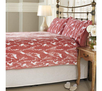 Cozee Home Winter Birds Velvet Soft Printed 4 Piece Duvet Set - 806247