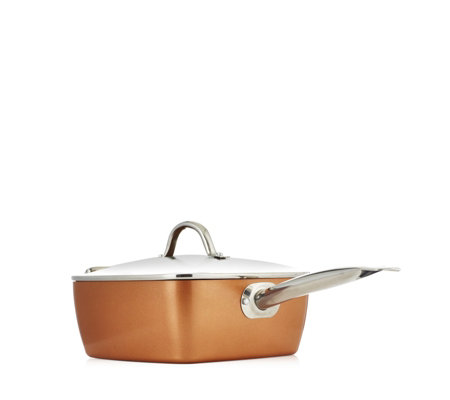 Copper Chef 24cm Deep Square Pan with Lid Fry Basket & Steam & Roast Rack