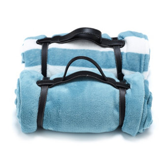 Cozee Home 2 Pack Fleece Travel Blankets with Carry Handle - 805252