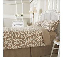 Cozee Home Regency Damask Print Fleece 4 Piece Duvet Set - 804654